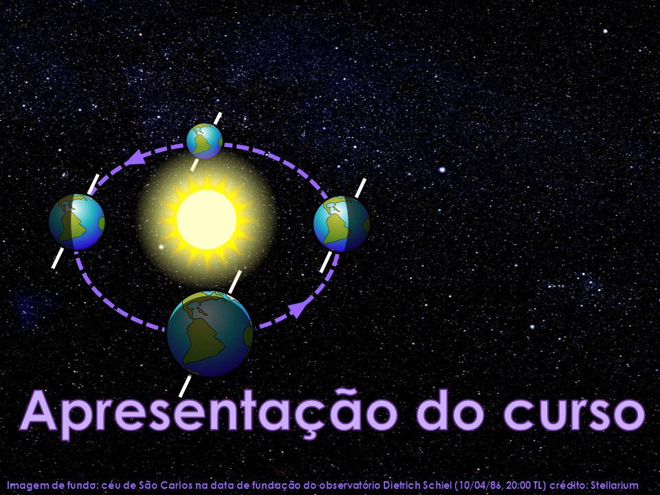 Imagem de fundo: céu de São Carlos na data de fundação do observatório Dietrich Schiel (10/04/86, 20:00 TL) crédito: Stellarium