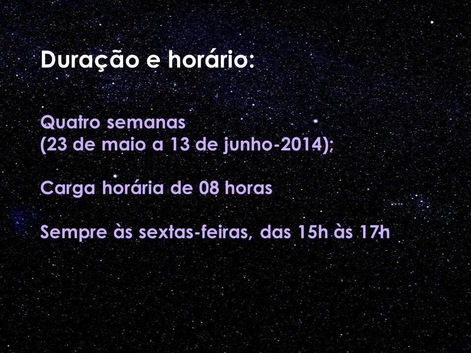 Duração e horário: Quatro semanas (23 de maio a 13 de junho-2014); Carga horária de 08 horas Sempre às sextas-feiras, das 15h às 17h