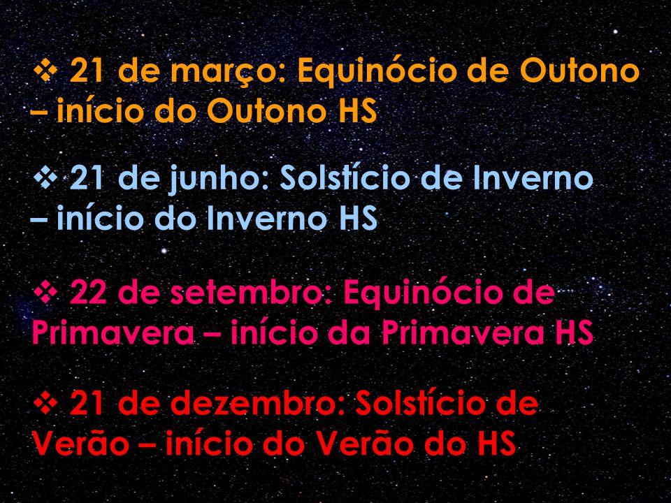  21 de março: Equinócio de Outono – início do Outono HS  22 de setembro: Equinócio de Primavera – início da Primavera HS  21 de junho: Solstício de