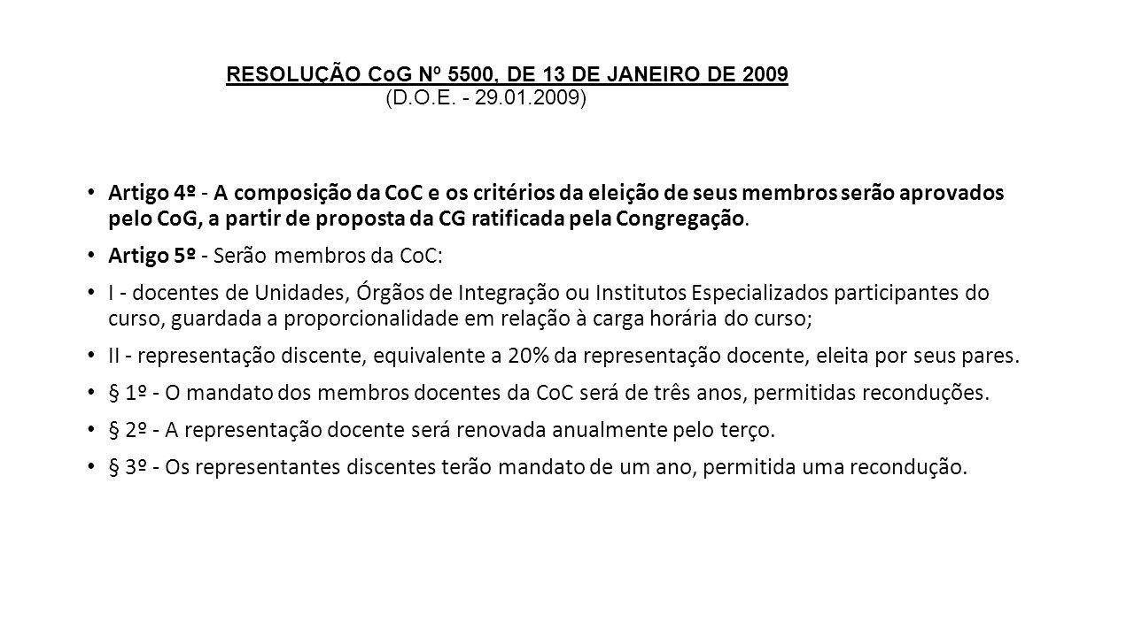 RESOLUÇÃO CoG Nº 5500, DE 13 DE JANEIRO DE 2009 (D.O.E. - 29.01.2009) Artigo 4º - A composição da CoC e os critérios da eleição de seus membros serão