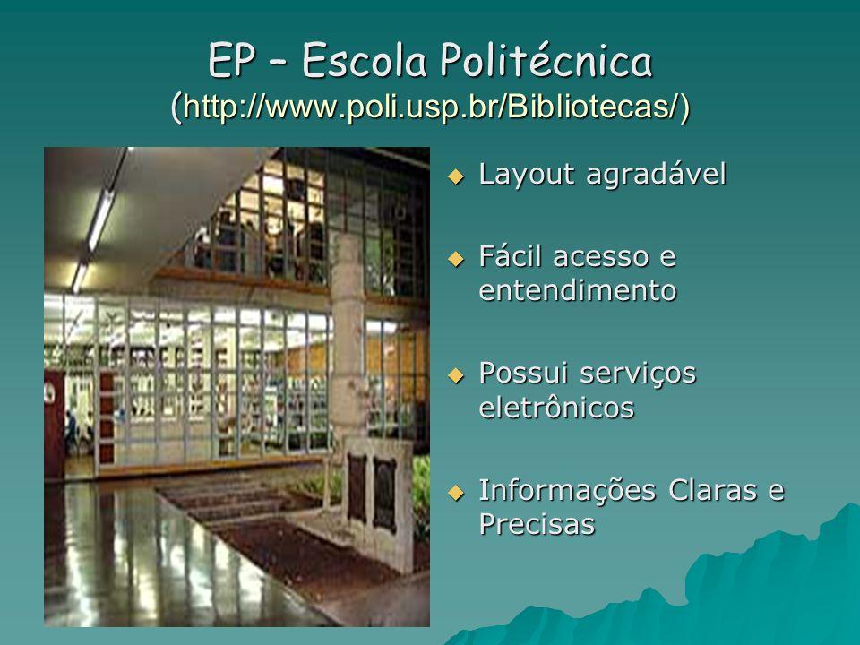 EP – Escola Politécnica ( http://www.poli.usp.br/Bibliotecas/)  Layout agradável  Fácil acesso e entendimento  Possui serviços eletrônicos  Informações Claras e Precisas