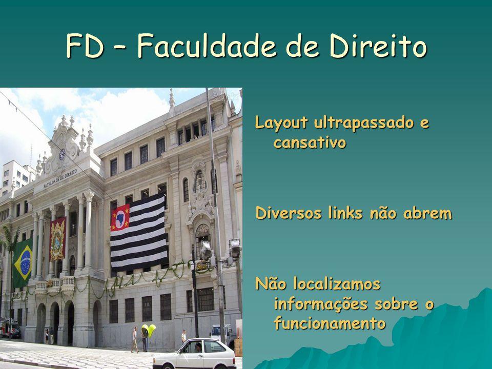 FD – Faculdade de Direito Layout ultrapassado e cansativo Diversos links não abrem Não localizamos informações sobre o funcionamento
