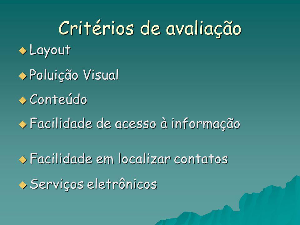 Critérios de avaliação  Layout  Poluição Visual  Conteúdo  Facilidade de acesso à informação  Facilidade em localizar contatos  Serviços eletrônicos
