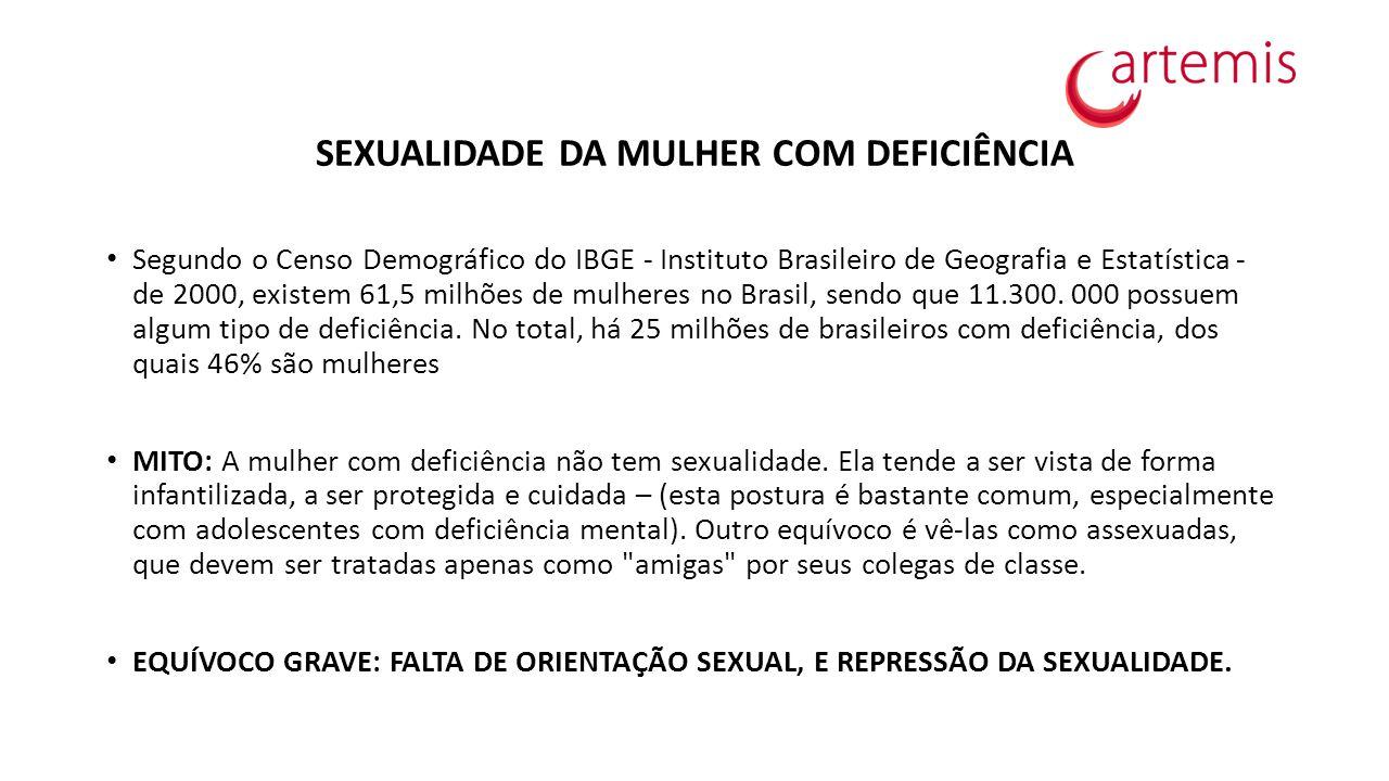 SEXUALIDADE DA MULHER COM DEFICIÊNCIA Segundo o Censo Demográfico do IBGE - Instituto Brasileiro de Geografia e Estatística - de 2000, existem 61,5 mi