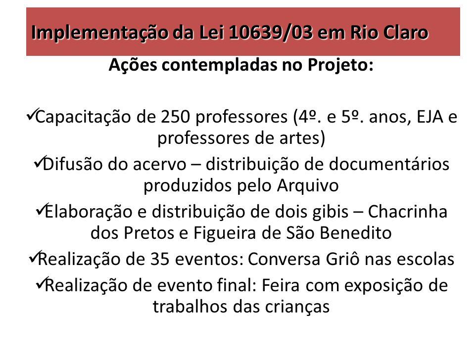 Implementação da Lei 10639/03 em Rio Claro Ações contempladas no Projeto: Capacitação de 250 professores (4º.