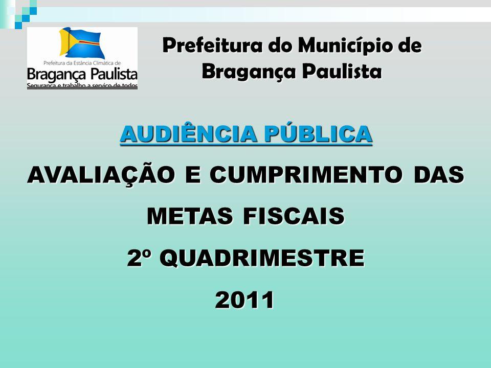 AUDIÊNCIA PÚBLICA DE 26 DE SETEMBRO DE 2011 AVALIAÇÃO DO CUMPRIMENTO DAS METAS FISCAIS 2º QUADRIMESTRE DE 2011 À Comissão de Finanças, Orçamento, Obras, Serviços Públicos e Desenvolvimento Urbano – CFO Ilustríssimos Senhores Vereadores, Em atendimento ao § 4º do artigo 9º da Lei Complementar nº 101/2000 – Lei de Responsabilidade Fiscal, apresentamos o Relatório de Gestão Fiscal e Avaliação das Metas Fiscais do 2º Quadrimestre do Exercício de 2011 com os principais aspectos que condicionaram o comportamento do resultado primário, da receita, da despesa e da dívida consolidada.