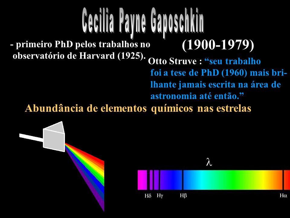 Abundância de elementos químicos nas estrelas - primeiro PhD pelos trabalhos no observatório de Harvard (1925).