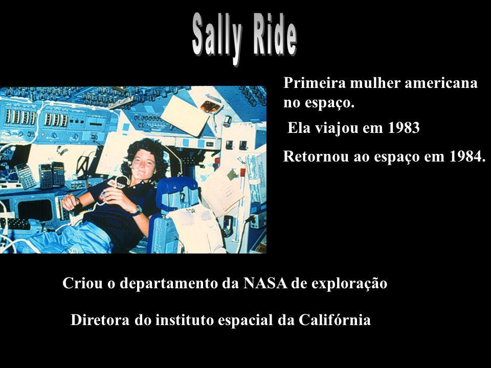 Primeira mulher americana no espaço. Ela viajou em 1983 Retornou ao espaço em 1984.