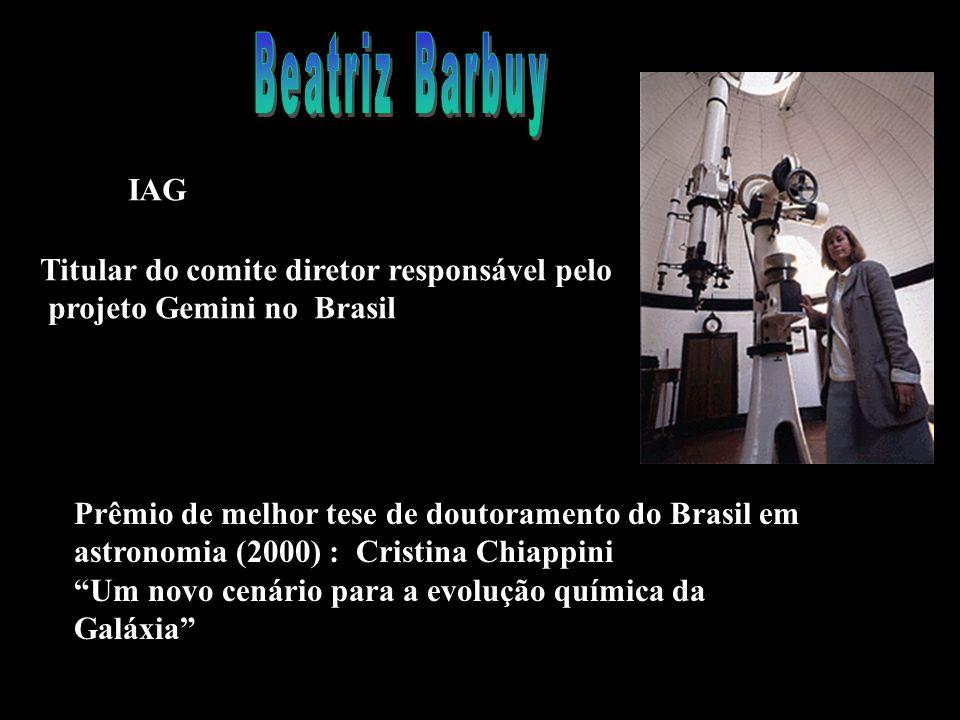 IAG Titular do comite diretor responsável pelo projeto Gemini no Brasil Prêmio de melhor tese de doutoramento do Brasil em astronomia (2000) : Cristina Chiappini Um novo cenário para a evolução química da Galáxia
