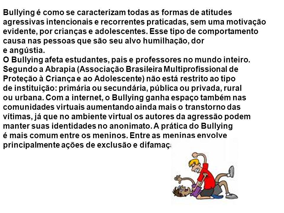Como não existe uma tradução na língua portuguesa capaz de expressar as várias situações de Bullying, relacionamos algumas ações que traduzem esse termo: Agredir; amedrontar; assediar; aterrorizar; bater; chutar; discriminar; divulgar apelidos; dominar; empurrar; encarnar; excluir do grupo; fazer sofrer; ferir; gozar; humilhar; ignorar; isolar; intimidar; ofender; perseguir; sacanear; roubar; quebrar pertences; zoar, entre outros.