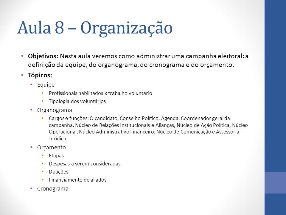 Aula 8 – Organização Objetivos: Nesta aula veremos como administrar uma campanha eleitoral: a definição da equipe, do organograma, do cronograma e do