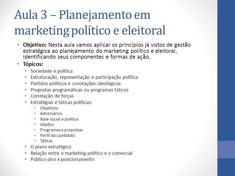 Aula 3 – Planejamento em marketing político e eleitoral Objetivo: Nesta aula vamos aplicar os princípios já vistos de gestão estratégica ao planejamen