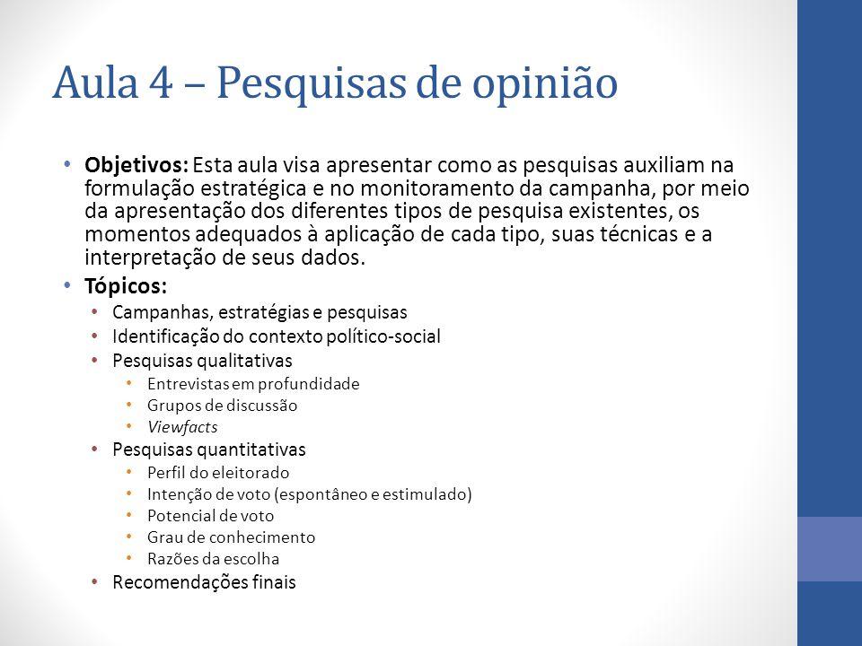 Aula 4 – Pesquisas de opinião Objetivos: Esta aula visa apresentar como as pesquisas auxiliam na formulação estratégica e no monitoramento da campanha