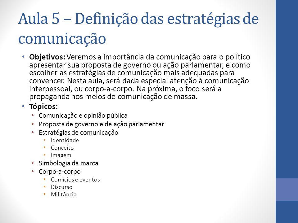 Aula 5 – Definição das estratégias de comunicação Objetivos: Veremos a importância da comunicação para o político apresentar sua proposta de governo o