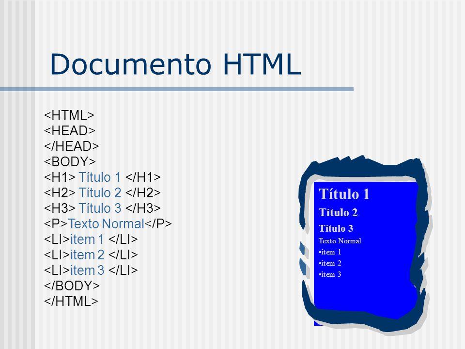 Título 1 Título 2 Título 3 Texto Normal item 1 item 2 item 3 Documento HTML Título 1 Título 2 Título 3 Texto Normal item 1 item 2 item 3