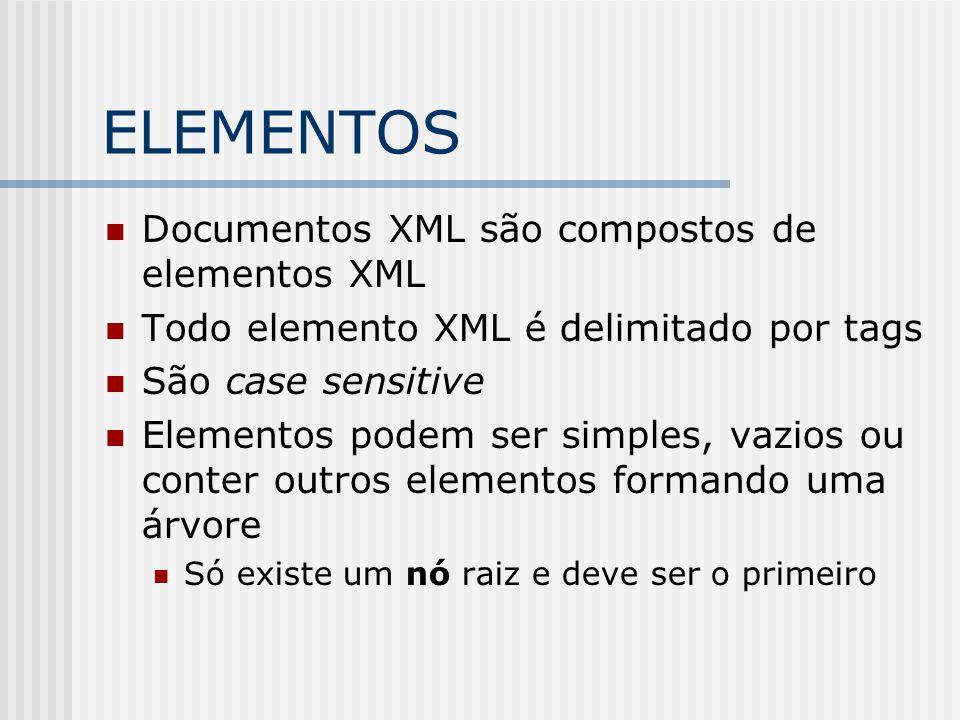 ELEMENTOS Documentos XML são compostos de elementos XML Todo elemento XML é delimitado por tags São case sensitive Elementos podem ser simples, vazios