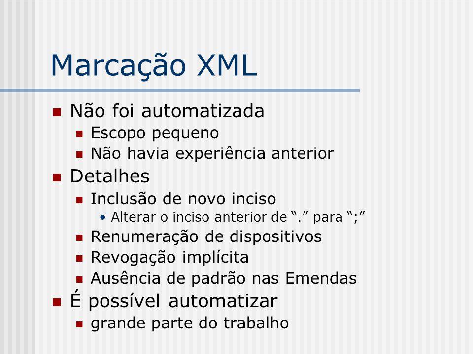 """Marcação XML Não foi automatizada Escopo pequeno Não havia experiência anterior Detalhes Inclusão de novo inciso Alterar o inciso anterior de """"."""" para"""