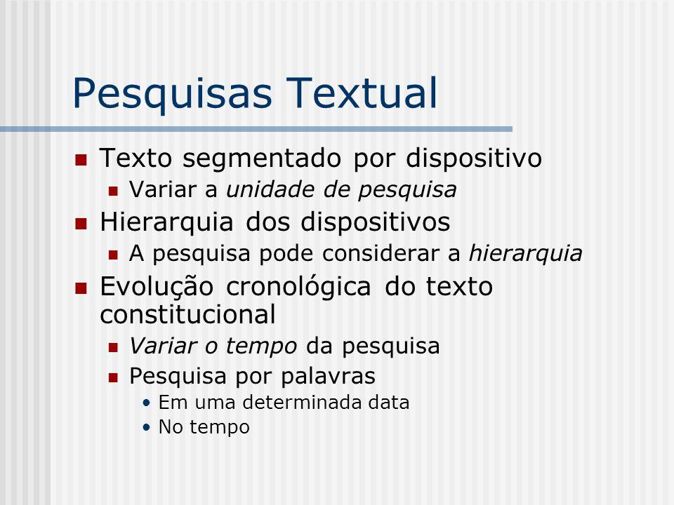 Pesquisas Textual Texto segmentado por dispositivo Variar a unidade de pesquisa Hierarquia dos dispositivos A pesquisa pode considerar a hierarquia Ev