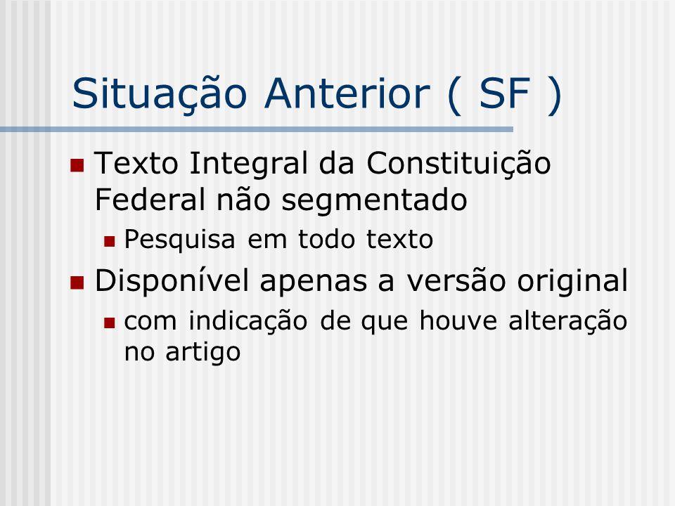 Situação Anterior ( SF ) Texto Integral da Constituição Federal não segmentado Pesquisa em todo texto Disponível apenas a versão original com indicaçã