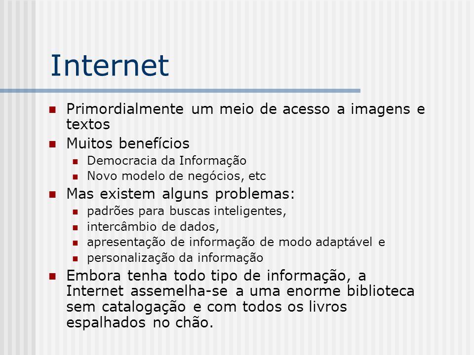 Internet Primordialmente um meio de acesso a imagens e textos Muitos benefícios Democracia da Informação Novo modelo de negócios, etc Mas existem algu