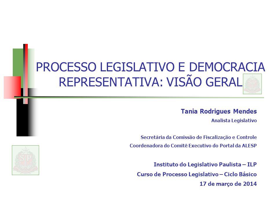 PROCESSO LEGISLATIVO E DEMOCRACIA REPRESENTATIVA: VISÃO GERAL Tania Rodrigues Mendes Analista Legislativo Secretária da Comissão de Fiscalização e Con