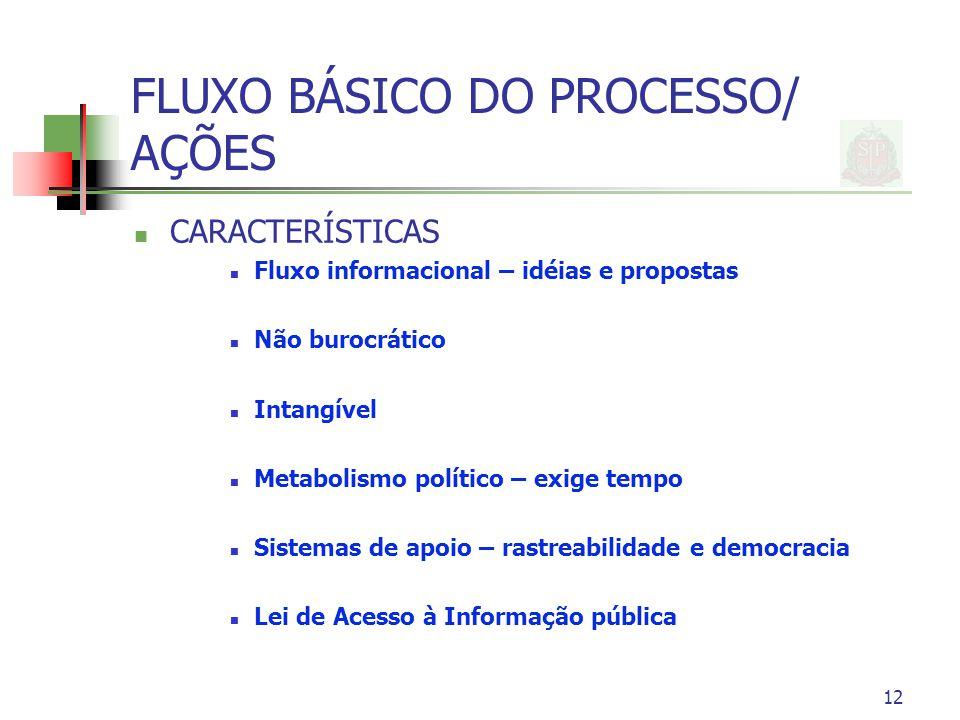 12 FLUXO BÁSICO DO PROCESSO/ AÇÕES CARACTERÍSTICAS Fluxo informacional – idéias e propostas Não burocrático Intangível Metabolismo político – exige te