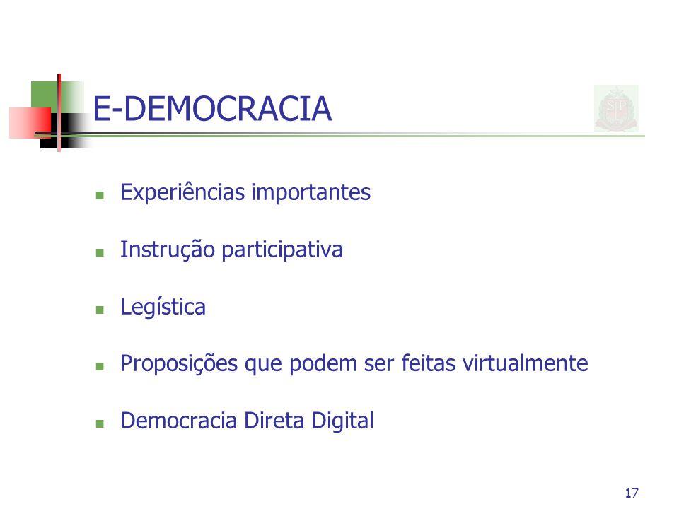 E-DEMOCRACIA Experiências importantes Instrução participativa Legística Proposições que podem ser feitas virtualmente Democracia Direta Digital 17