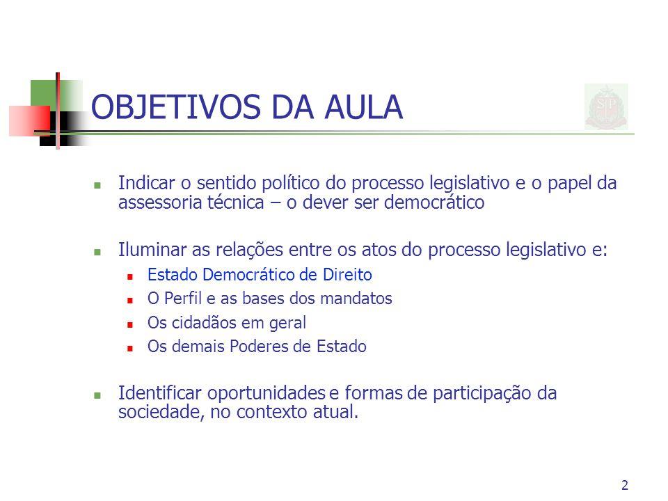 2 OBJETIVOS DA AULA Indicar o sentido político do processo legislativo e o papel da assessoria técnica – o dever ser democrático Iluminar as relações