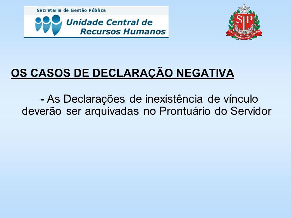 OS CASOS DE DECLARAÇÃO NEGATIVA - As Declarações de inexistência de vínculo deverão ser arquivadas no Prontuário do Servidor