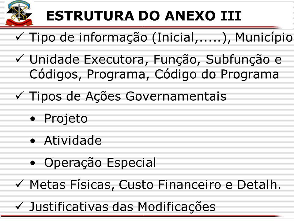 X ESTRUTURA DO ANEXO II Tipo de informação (Inicial,.....) Identificação do Município Programa, Código do Programa, Unidade Responsável pelo Programa