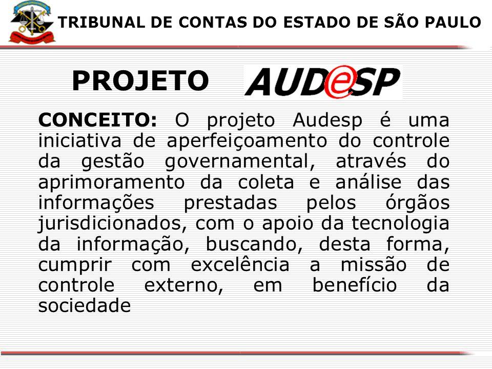 X CONCEITO: O projeto Audesp é uma iniciativa de aperfeiçoamento do controle da gestão governamental, através do aprimoramento da coleta e análise das informações prestadas pelos órgãos jurisdicionados, com o apoio da tecnologia da informação, buscando, desta forma, cumprir com excelência a missão de controle externo, em benefício da sociedade TRIBUNAL DE CONTAS DO ESTADO DE SÃO PAULO