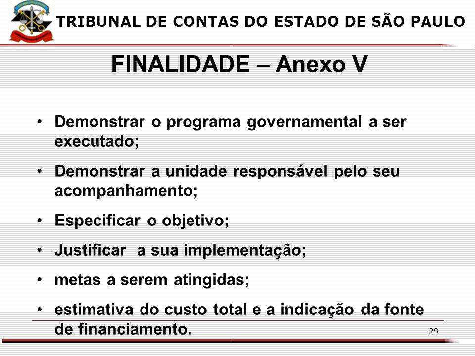 28 TRIBUNAL DE CONTAS DO ESTADO DE SÃO PAULO INFORMAÇÕES A SEREM SOLICITADAS PELO TCESP ANEXO V – Planejamento Orçamentário / LDO – Descrição dos prog