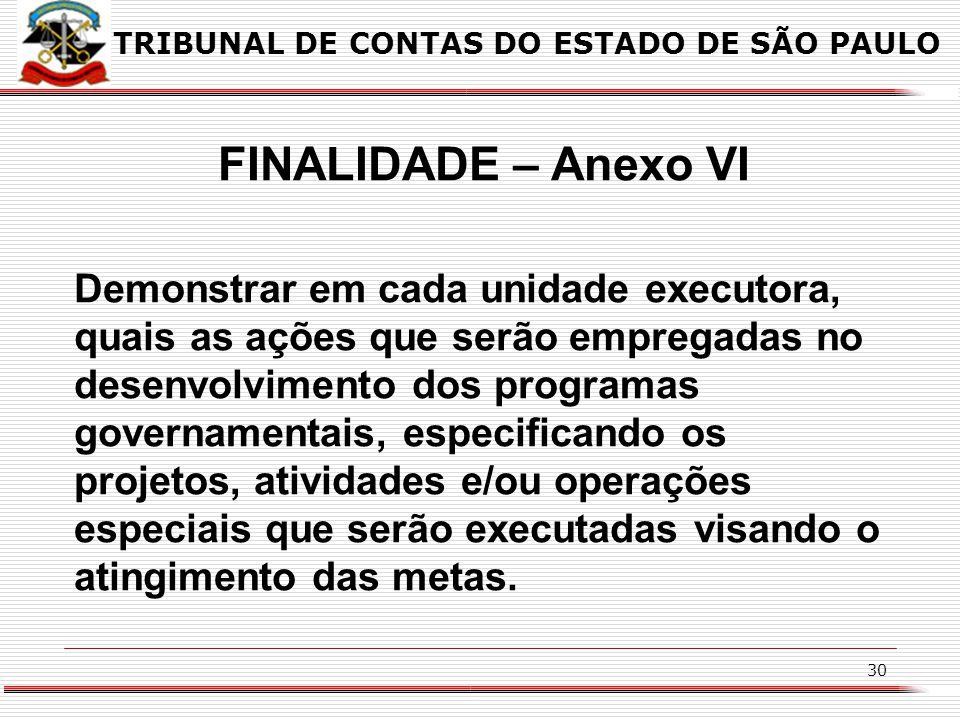 29 FINALIDADE – Anexo V Demonstrar o programa governamental a ser executado; Demonstrar a unidade responsável pelo seu acompanhamento; Especificar o o