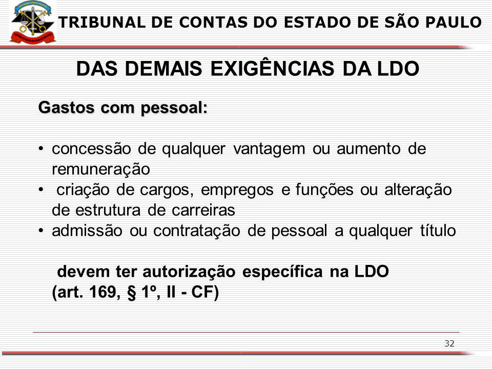31 DAS DEMAIS EXIGÊNCIAS DA LDO dispor sobre as alterações na legislação tributária; (art. 165, § 2º, inc. II – CF) TRIBUNAL DE CONTAS DO ESTADO DE SÃ