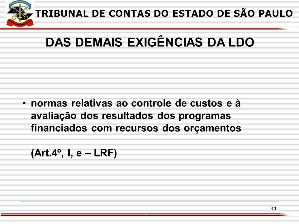 33 DAS DEMAIS EXIGÊNCIAS DA LDO Dispor sobre equilíbrio entre receitas e despesas (art.4º, I, a – LRF) Critérios e formas de limitação de empenho a se