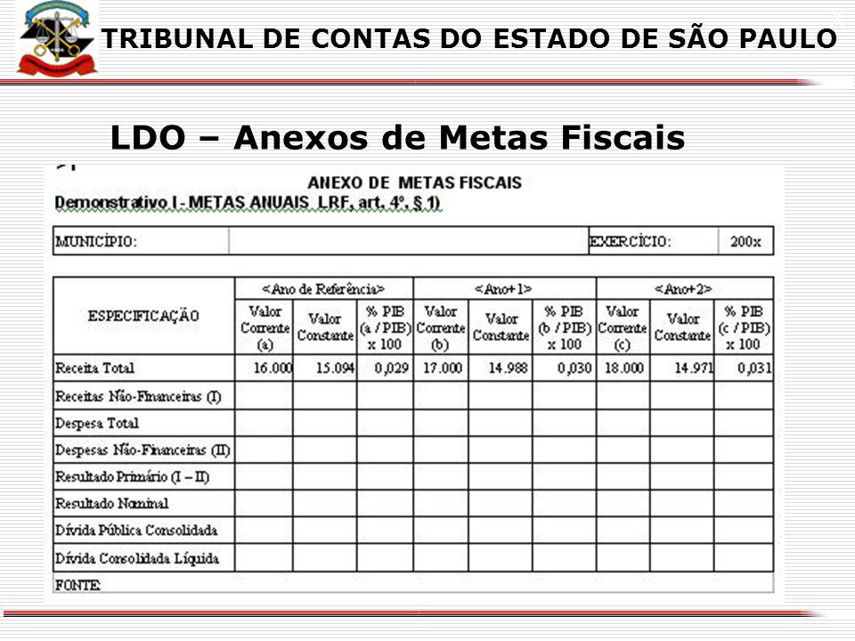 X LDO – Anexos de Metas e Riscos Fiscais TRIBUNAL DE CONTAS DO ESTADO DE SÃO PAULO 1 As Portarias definem os exercícios, da seguinte forma: a Ano de E