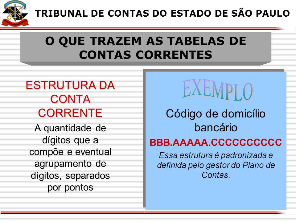 X BANCOS-CONTAS MOVIMENTO X TRIBUNAL DE CONTAS DO ESTADO DE SÃO PAULO CONTA CONTÁBIL saldo total 1.1.1.1.2.01.00 (total de todos os bancos) R$ 100,00