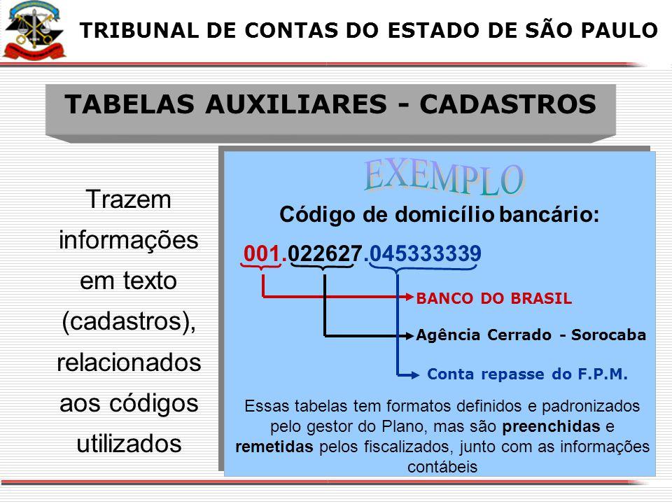X O QUE TRAZEM AS TABELAS DE CONTAS CORRENTES X TRIBUNAL DE CONTAS DO ESTADO DE SÃO PAULO ESTRUTURA DA CONTA CORRENTE A quantidade de dígitos que a co
