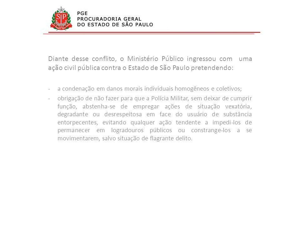 Diante desse conflito, o Ministério Público ingressou com uma ação civil pública contra o Estado de São Paulo pretendendo: -a condenação em danos mora