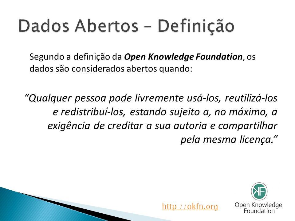 Segundo a definição da Open Knowledge Foundation, os dados são considerados abertos quando: Qualquer pessoa pode livremente usá-los, reutilizá-los e redistribuí-los, estando sujeito a, no máximo, a exigência de creditar a sua autoria e compartilhar pela mesma licença. http://okfn.org
