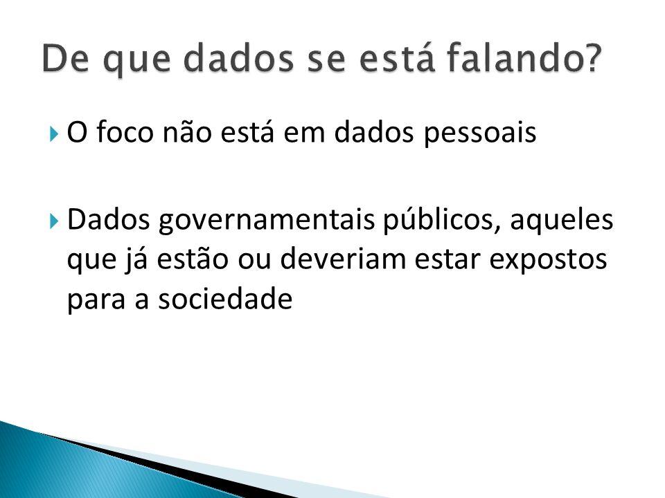  O foco não está em dados pessoais  Dados governamentais públicos, aqueles que já estão ou deveriam estar expostos para a sociedade