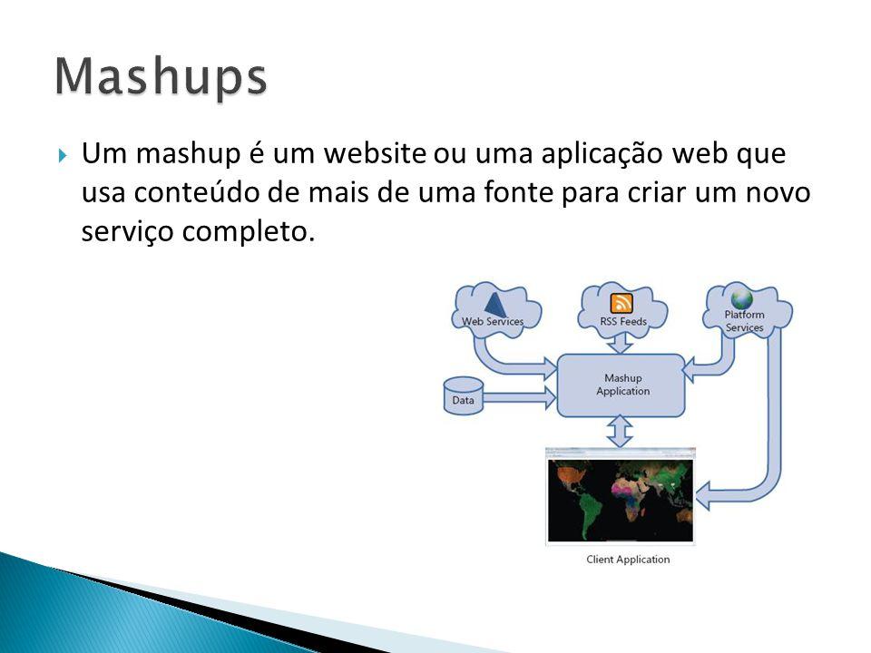  Um mashup é um website ou uma aplicação web que usa conteúdo de mais de uma fonte para criar um novo serviço completo.