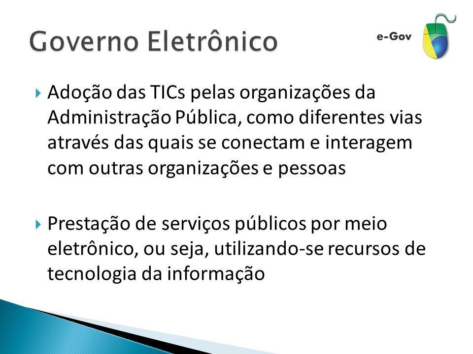  Adoção das TICs pelas organizações da Administração Pública, como diferentes vias através das quais se conectam e interagem com outras organizações e pessoas  Prestação de serviços públicos por meio eletrônico, ou seja, utilizando-se recursos de tecnologia da informação