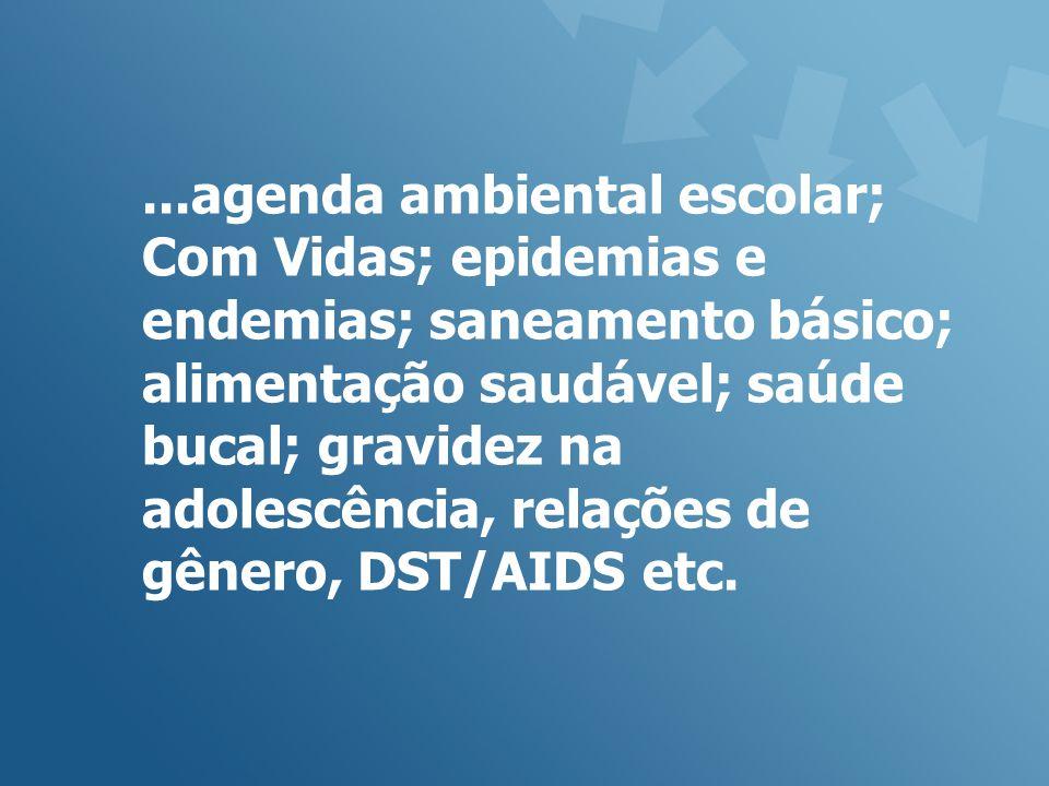 ...agenda ambiental escolar; Com Vidas; epidemias e endemias; saneamento básico; alimentação saudável; saúde bucal; gravidez na adolescência, relações de gênero, DST/AIDS etc.