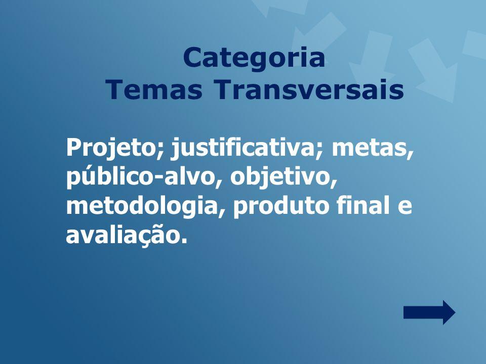 Projeto; justificativa; metas, público-alvo, objetivo, metodologia, produto final e avaliação.