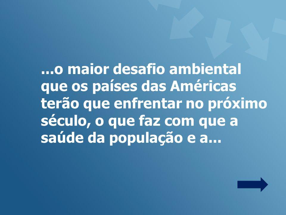 ...o maior desafio ambiental que os países das Américas terão que enfrentar no próximo século, o que faz com que a saúde da população e a...