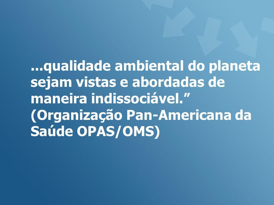 ...qualidade ambiental do planeta sejam vistas e abordadas de maneira indissociável. (Organização Pan-Americana da Saúde OPAS/OMS)