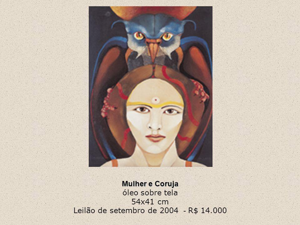 Mulher e Coruja Mulher e Coruja óleo sobre tela 54x41 cm Leilão de setembro de 2004 - R$ 14.000