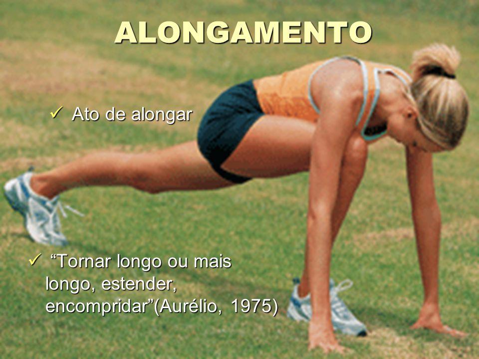 ALONGAMENTO Ato de alongar Ato de alongar Tornar longo ou mais longo, estender, encompridar (Aurélio, 1975) Tornar longo ou mais longo, estender, encompridar (Aurélio, 1975)