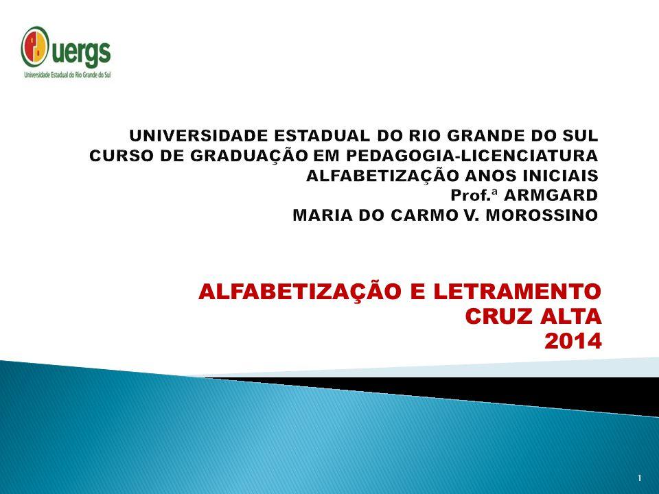 ALFABETIZAÇÃO E LETRAMENTO CRUZ ALTA 2014 1